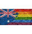 Brick Wall Australia and Gay flags vector image vector image