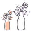champagne bottle with flowers line art isolated vector image vector image