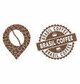 coffee mosaic coffee bean marker with textured vector image vector image