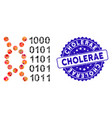 collage dna code icon with scratched cholerae seal vector image vector image
