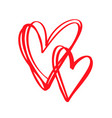 couple red valentines day hand drawn vector image vector image