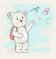 cute bear with a briefcase shows vector image vector image