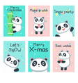 cute panda christmas cards template set vector image
