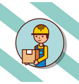 delivery man portrait cartoon with cardboard box vector image