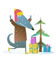 Dog or wolf celebrating winter holidays vector image