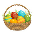 easter basket with colored vector image