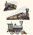 Engraved vintage hand drawn old locomotive or
