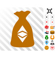 ethereum sack icon with bonus vector image vector image