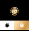 f gold letter monogram gold circle lace ornament vector image