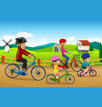 family going biking together vector image