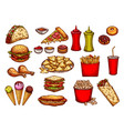 fast food burger drink and dessert sketch set vector image