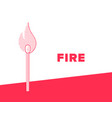 flaming match banner stick with fire dotted style vector image