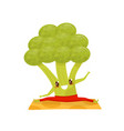 funny broccoli doing yoga exercise on a mat vector image