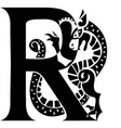 gargoyle capital letter r vector image vector image
