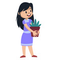 girl holding a plant on white background vector image vector image
