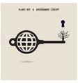 Globe key symbol with the dead tree sign vector image vector image