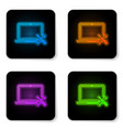 glowing neon laptop with screwdriver and wrench vector image vector image