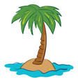 green palm tree on island on white background vector image