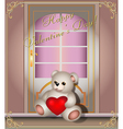 greeting card with teddy bear and door vector image vector image