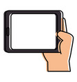 hand human with tablet device isolated icon vector image vector image