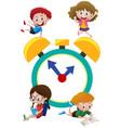 happy children and alarm clock vector image vector image