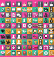 icons of color in flat 100 pieces business vector image vector image