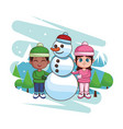 kids with snowman vector image vector image