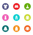 leather apparel icons set flat style vector image vector image