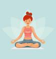 meditation cute female girl yoga health cartoon vector image