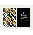 Merry christmas new year gold retro pattern card vector image vector image