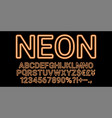 neon font in orange color vector image