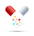 open medicine pill with colorful active components vector image