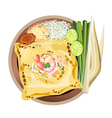Pad Thai or Stir Fried Noodles Wrapped white Omele vector image vector image