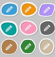 pencil icon icon symbols Multicolored paper vector image vector image
