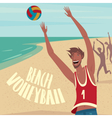People playing ball on the beach vector image vector image