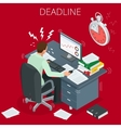 Project deadline Concept of overworked man Man vector image
