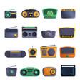radio icon set cartoon style vector image