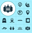 ramadan icons set collection of mosque lantern vector image vector image