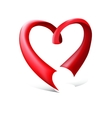 Red glossy ribbon heart vector image