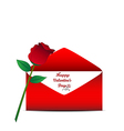 Red rose and red envelope on white background vector image