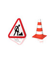 Road sign road repair and highway cones vector image