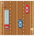 Road with red blue cars and cargo truck - retro vector image