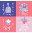 romantic cards collection square banners vector image