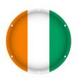 round metallic flag of ivory coast screw holes vector image vector image
