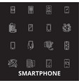 smartphone editable line icons set on black vector image vector image