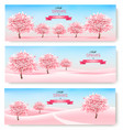 three spring banners with pink cherry blossom vector image vector image