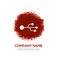 usb connection icon - red watercolor circle splash vector image vector image