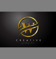 w golden letter logo design with circle swoosh vector image