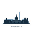 washington skyline monochrome silhouette vector image vector image