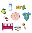 Little boy and childish toys icons vector image